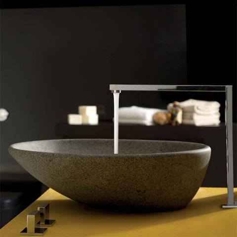 globo le pietre aufsatzwaschtisch rund asymmetrisch grau peperino stein oberfl che lat50pg. Black Bedroom Furniture Sets. Home Design Ideas