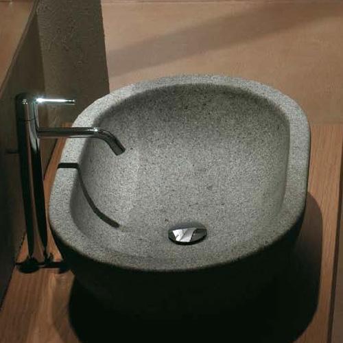 globo le pietre aufsatzwaschtisch oval grau peperino. Black Bedroom Furniture Sets. Home Design Ideas