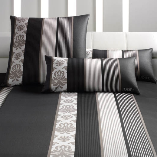 joop bettw sche mako satin ornament stripe 4022 farbe schwarz 9 80x80 cm 155x220 cm. Black Bedroom Furniture Sets. Home Design Ideas