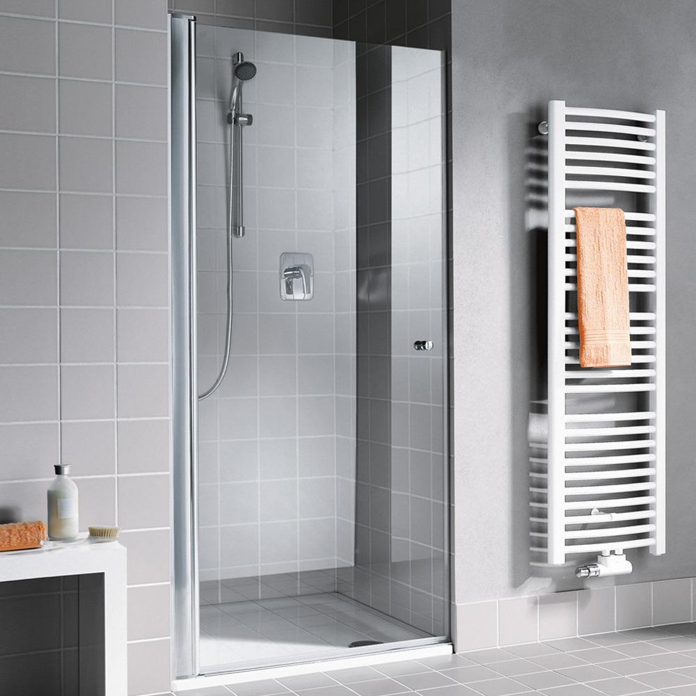 kermi atea pendelt r 1 fl gelig in nische esg transparent mit kermiclean silber hochglanz. Black Bedroom Furniture Sets. Home Design Ideas